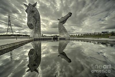 Reflected Kelpies  Poster by Rob Hawkins