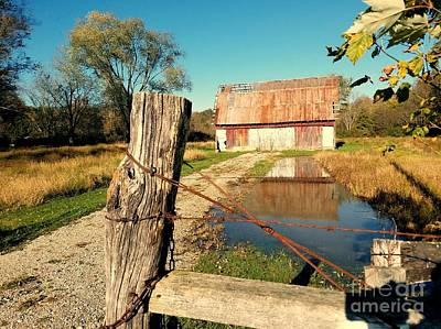 Reflections Of An Old Barn Brown County Indiana Poster by Scott D Van Osdol