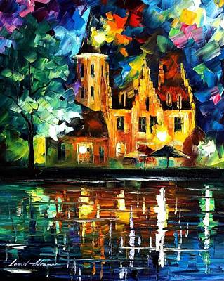 Reflections Of Brussels - Palette Knife Oil Painting On Canvas By Leonid Afremov Poster by Leonid Afremov