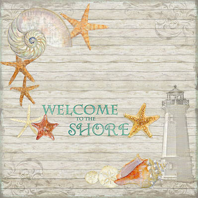 Refreshing Shores - Welcome To The Shore Lighthouse Poster by Audrey Jeanne Roberts