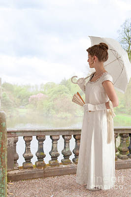 Regency Woman With Parasol Standing By The Lake Poster by Lee Avison