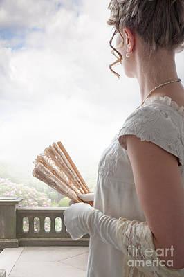 Regency Woman With Ringlets Holding A Fan Poster by Lee Avison