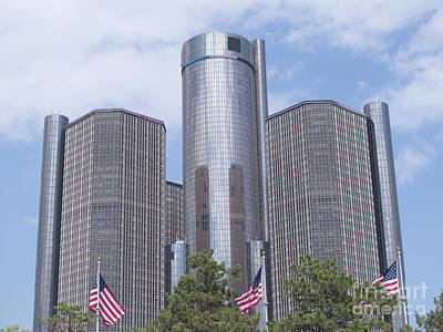 Renaissance Center And Flags Poster by Ann Horn