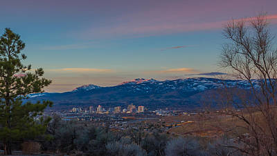 Reno Sunrise Natural Frame Poster by Scott McGuire