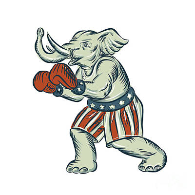 Republican Elephant Boxer Mascot Isolated Etching Poster by Aloysius Patrimonio