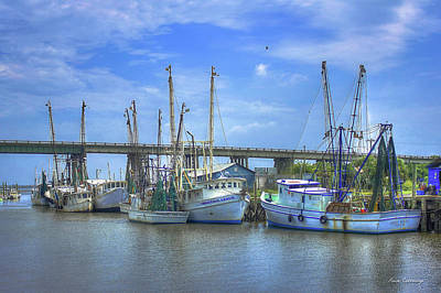 Resting Shrimp Boats Tybee Island Georgia Art Poster by Reid Callaway