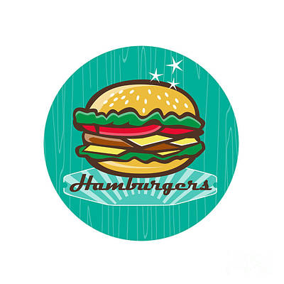 Retro 1950s Diner  Hamburger Circle  Poster by Aloysius Patrimonio