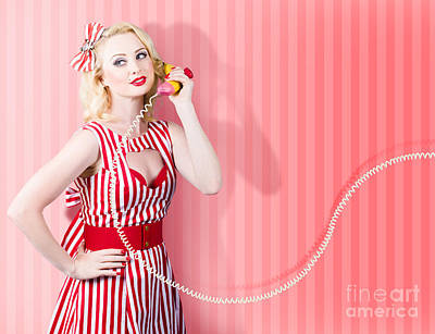 Retro Housewife In 50s Fashion On Vintage Phone Poster by Jorgo Photography - Wall Art Gallery