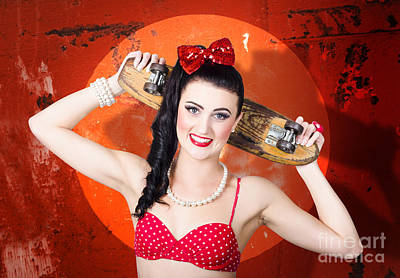 Retro Pinup Girl Holding Old Wooden Skateboard Poster by Jorgo Photography - Wall Art Gallery