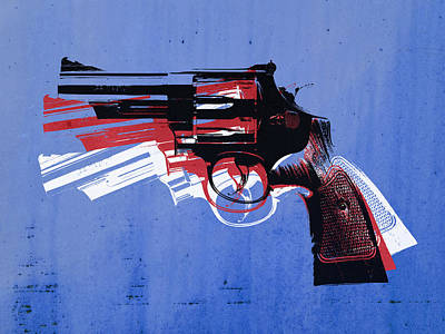 Revolver On Blue Poster by Michael Tompsett