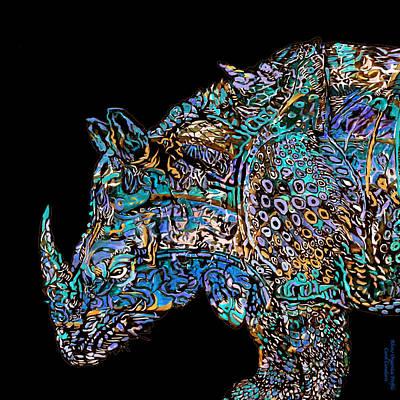 Rhino 4 Profile Organica Poster by Carol Cavalaris