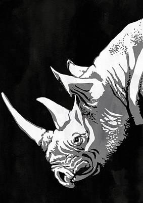Rhino Animal Decorative Black Poster 5 -  By Nostalgic Art Poster by Diana Van