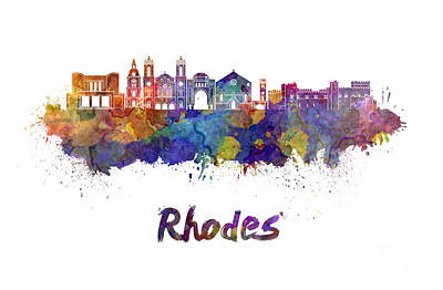 Rhodes Skyline In Watercolor Poster by Pablo Romero