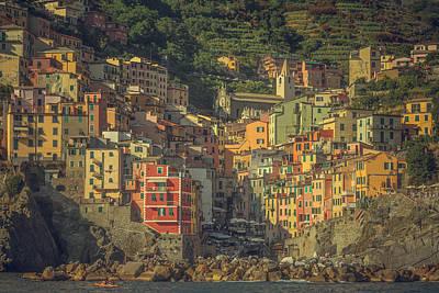 Riomaggiore From The Sea Poster by Chris Fletcher