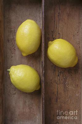 Ripe Lemons In Wooden Tray Poster by Edward Fielding
