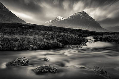 River To The Buachaille Poster by Dave Bowman