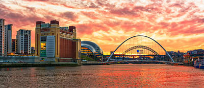 River Tyne Sunset Poster by John Brown