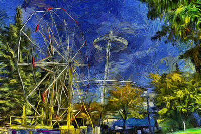 Riverfront Park - Pavilion And Ferris Wheel Poster by Mark Kiver