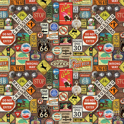 Roads Signs On Brick-jp3957-b Poster by Jean Plout