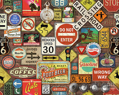 Roads Signs On Brick-jp3957 Poster by Jean Plout