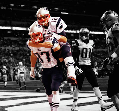 Rob Gronkowski And Tom Brady Poster by Brian Reaves
