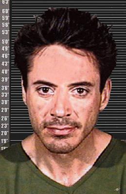 Robert Downey Jr Mug Shot 2001 Color Long Poster by Tony Rubino