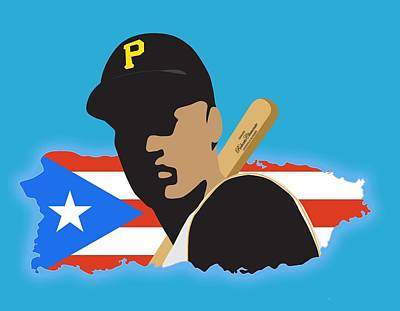 Roberto Clemente T-shirt Graphics Poster by Ron Regalado