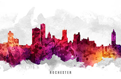 Rochester New York Cityscape 14 Poster by Aged Pixel