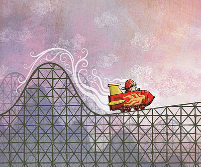 Rocket Me Rollercoaster Poster by Dennis Wunsch