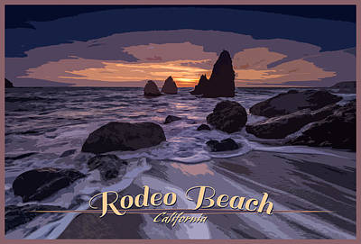 Rodeo Beach Vintage Tourism Poster Poster by Rick Berk