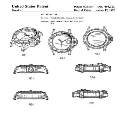 Rolex Watch Patent 1999 Poster by Bill Cannon