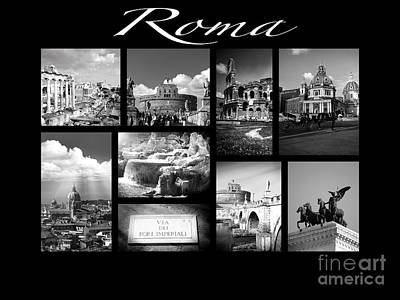 Roma Black And White Poster Poster by Stefano Senise