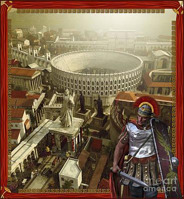 Roman Legionnaire With A Roman City Poster by Kurt Miller