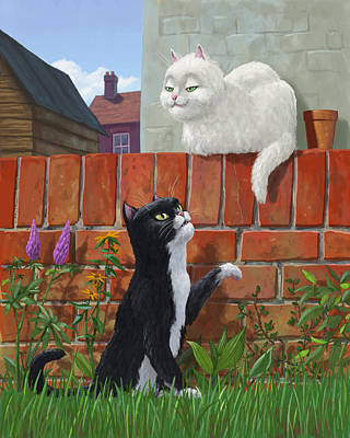 Romantic Cute Cats In Garden Poster by Martin Davey