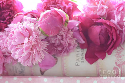 Romantic Pink Red Peonies - Shabby Chic Red Paris Pink Peonies Poster by Kathy Fornal