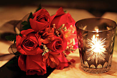 Romantic Red Roses In Candle Light Poster by Linda Phelps