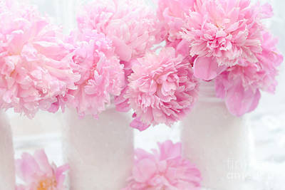 Romantic Shabby Chic Pink Pastel Peonies - Pink Peonies In White Mason Jars Poster by Kathy Fornal