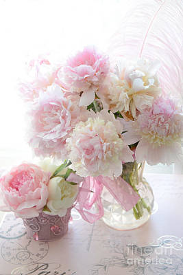 Romantic Shabby Chic Pink White Peonies - Shabby Chic Peonies Pastel Decor Poster by Kathy Fornal