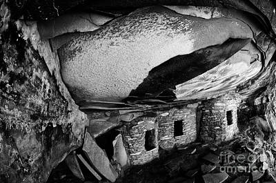 Roof Falling In Ruin Utah Monochrome Poster by Bob Christopher