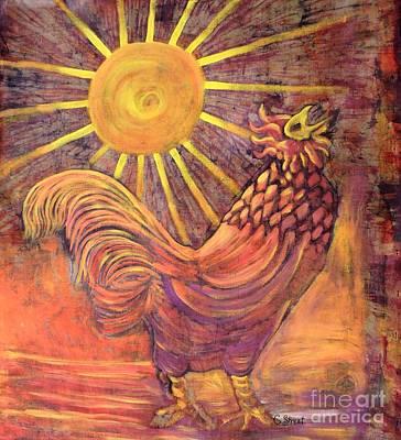 Rooster Batik Poster by Caroline Street
