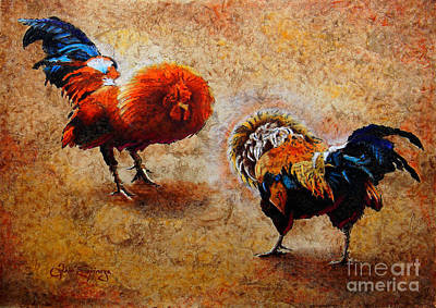 Tree Bark Poster featuring the painting Roosters  Scene by Jose Espinoza