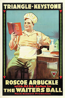 Roscoe Arbuckle In The Waiters Ball 1916 Poster by Mountain Dreams