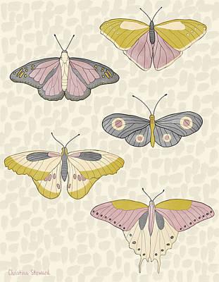 Rose Gold Butterflies Poster by Christina Steward
