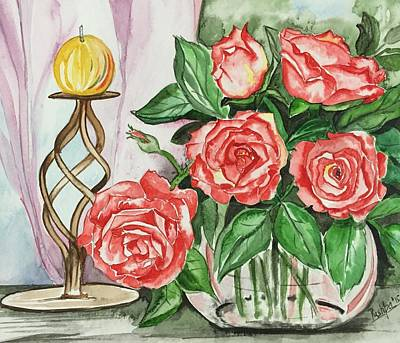 Roses With Candle Stand  Poster by Pushpa Sharma