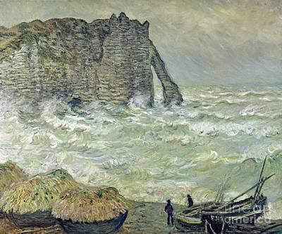 Rough Sea At Etretat Poster by Claude Monet