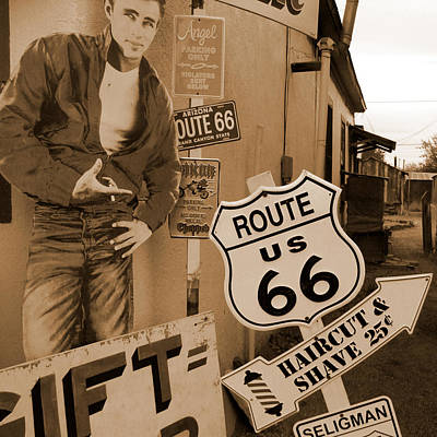 Route 66 - James Dean Poster by Mike McGlothlen