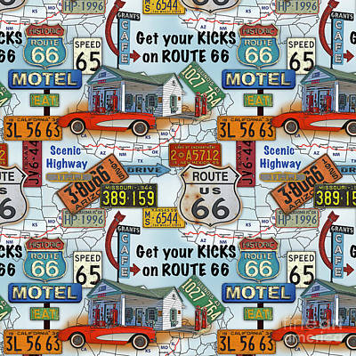 Route 66-jp3933-b Poster by Jean Plout