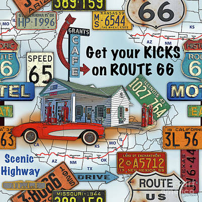 Route 66-jp3933 Poster by Jean Plout