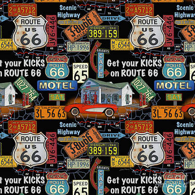 Route 66-jp3934-b Poster by Jean Plout