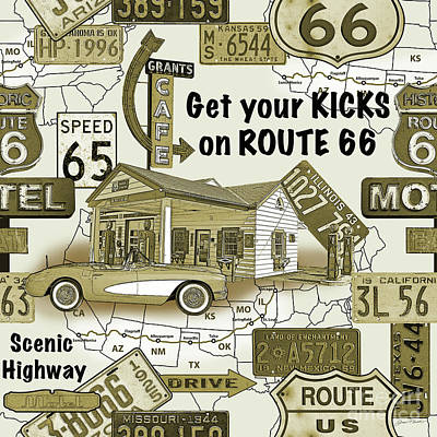 Route 66-jp3936 Poster by Jean Plout